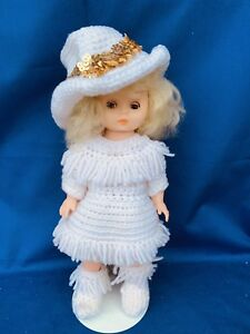 Vintage-Dolly-Parton-Tammy-Wynette-DOLL-Handmade-Crochet-OUTFIT-Cowboy-Hat-m13