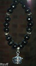 In Car Black Wood Wooden Beads & Prayer Wish Box Charm Pendant