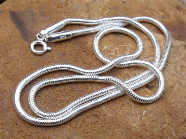 """925 SILVER SNAKE CHAIN/NECKLACE 16"""" INCHES-2MM WIDTH HANDCRAFTED JEWELLERY"""