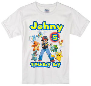 c7463b8d Image is loading Pokemon-birthday-shirt-Personalized-Custom-Name-Age-Kids-
