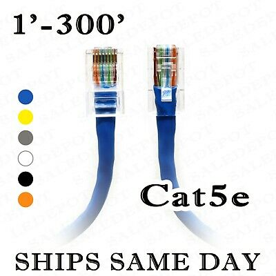Pick Colors 10ft CAT5e Ethernet Patch Cable Cord 350 MHz RJ45 20 Pack Lot