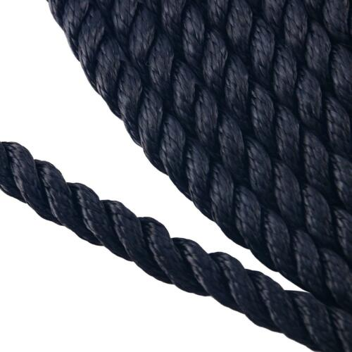 1//2 inch 50 feet 3 Strand Twisted Nylon Rope Dockline Black Mooring Rope US FAST