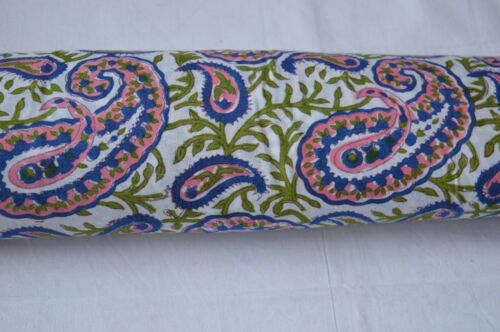 2.5 Yard Paisley Hand Made Block Print Fabric Beautiful Indian 100/% Cotton @