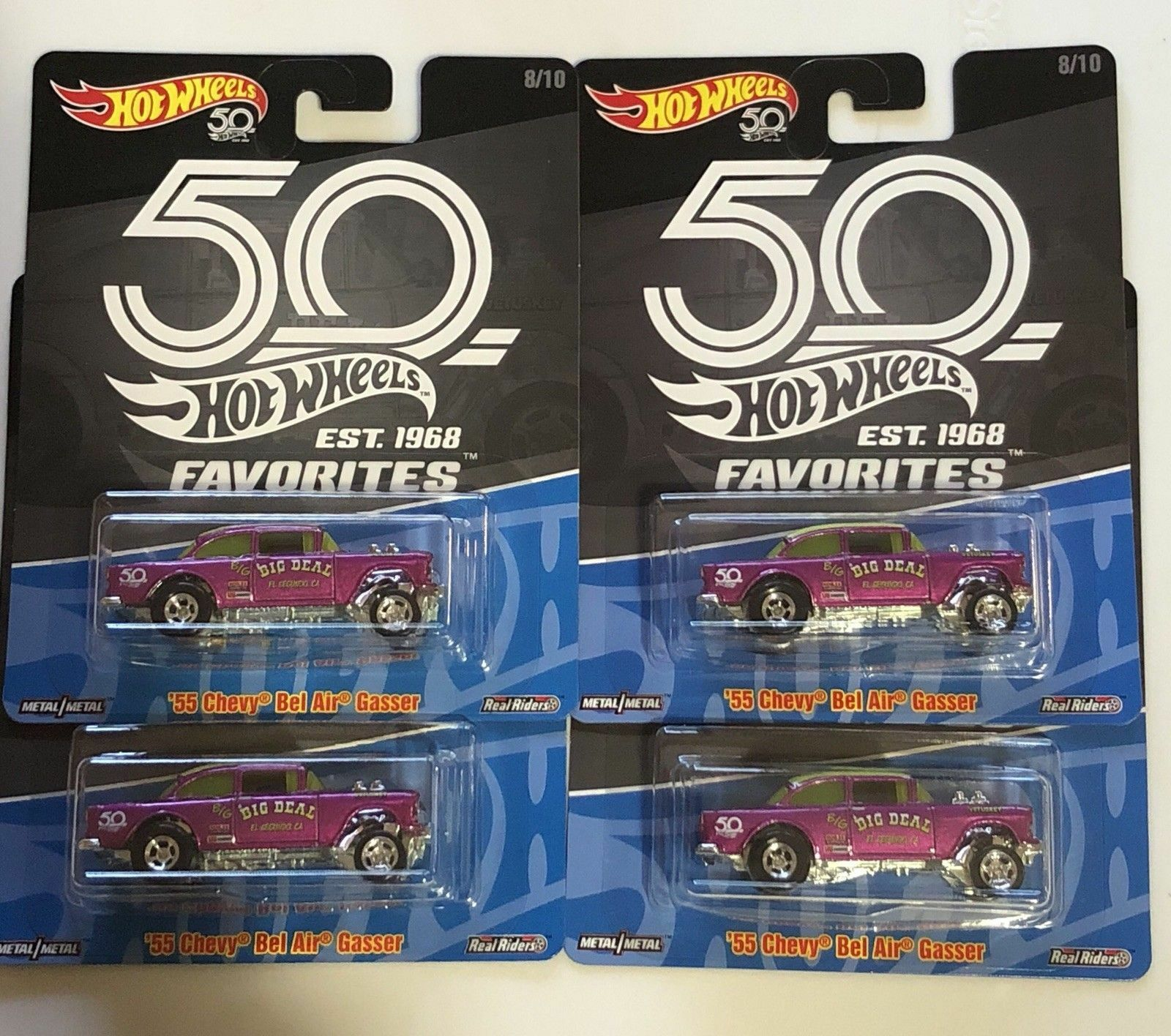 '55 CHEVY BEL AIR GASSER 50th Anniversaire Favoris Lot de 4 Hot Wheels HARD TO FIND Comme neuf