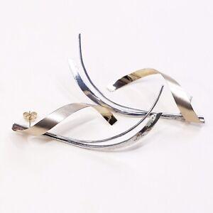 Vtg-two-tone-Sterling-Silver-Modern-Twisted-Earrings-925-silver-Handmade-Studs