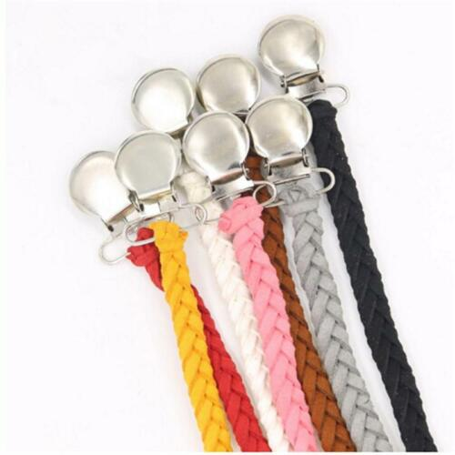 Baby Braided Leather Pacifier Clips Holder  Anti-off Chain Strap Bow Headband G