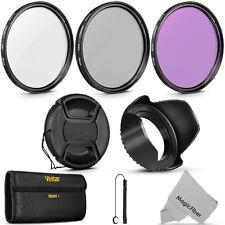 58mm Vivitar UV CPL FLD Filter Kit Lens Hood for Canon EOS Rebel Camera