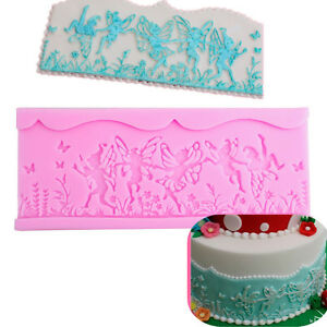 f510daaeb5 Image is loading Fairy-Border-Silicone-Flower-Butterfly-Fondant-Cake-Mold-