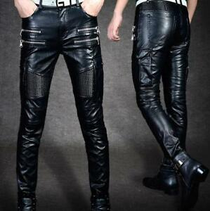 Mens-PU-Leather-Zipper-Punk-Rocker-Pants-Clubwear-Biker-Trousers-Slim-Skinny-New