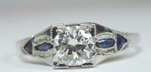 Antique-Art-Deco-Diamond-Engagement-18K-White-Gold-Ring-Size-6-5-UK-M1-2-EGL-USA
