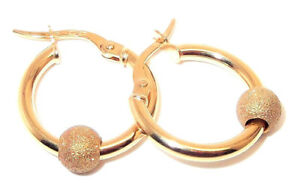 8905ca2d1 9ct hallmarked yellow gold glitter ball 17mm round creole hoop earrings