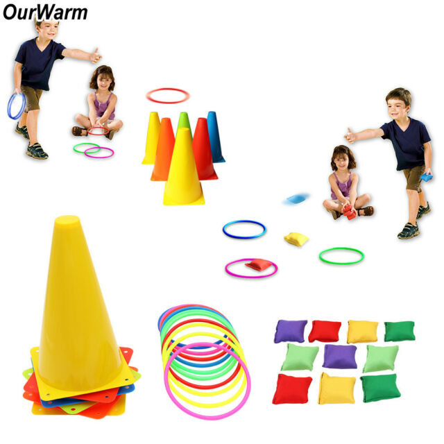 3 In 1 Carnival Combo Set Traffic Cone Ring Toss Game Cones Bean Bag Family Game