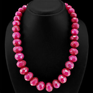 TOP GRADE SELLING 1024.00 CTS EARTH MINED RED RUBY ROUND BEADS NECKLACE STRAND