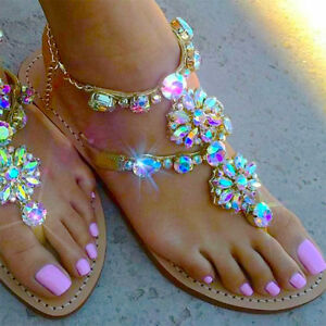 Womens-RHINESTONES-Strap-Flip-Flops-Strap-Flat-Beach-Sandals-Shoes-PLUS-SIZE-UK