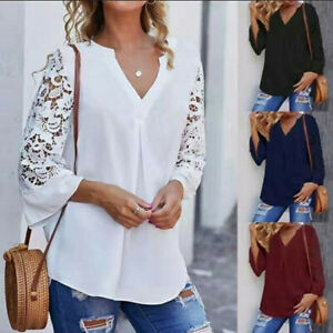 Photno Lace Patchwork Women Buttons Long Sleeve Blouse Casual Loose Solid Round Neck Tunic Tops T Shirt