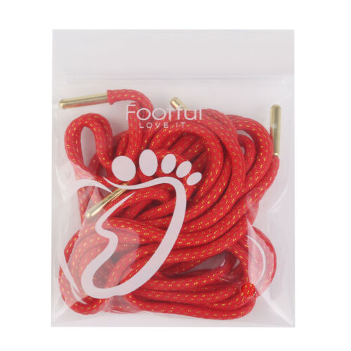 Fashion Gold Metal Tips Red Round Shoelace Sneakers  Sport Shoe Laces