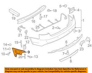 For Audi A4 09-16 Genuine Rear Passenger Side Upper Bumper Cover Guide
