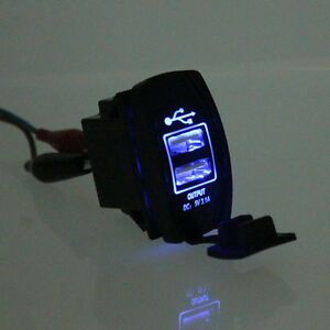 Universal-LED-Backlit-Car-Motorcycle-Dash-Dual-USB-Port-Charger-Adapter-Blue-YX