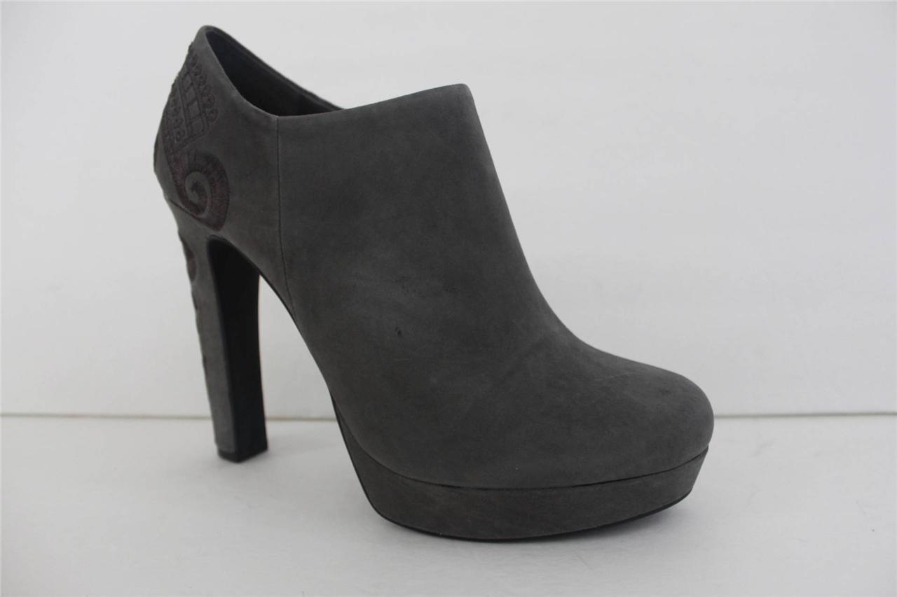 Gianni Bini Noelle Größe 9.5 M EmbroideROT Gray Suede High Booties Pump Heel Schuhe
