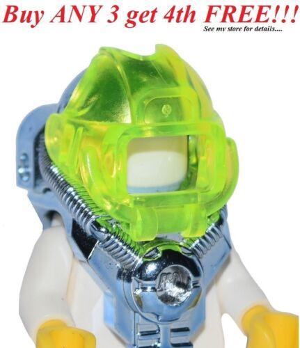 ☀️NEW Lego Minifig Headgear Helmet w// Visor 2 Studs on Back Chrome Blue Space