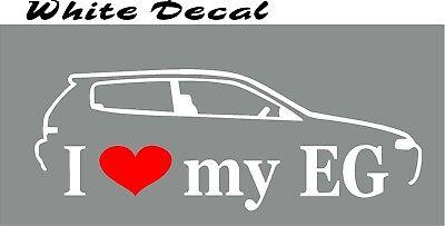 Heart I Love My EG Decal Vinyl Sticker Honda Civic Eg Hatch Life JDM 1