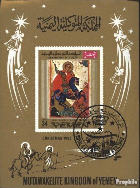 Yemen(UK) block183 (complete issue) used 1969 christmas: Icons