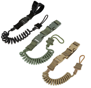 Tactical Military Adjustable Elastic Key Ring Lanyard Strap Outdoor Safety Rope