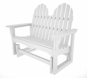 Miraculous Polywood Classic Adirondack 28 In W X 48 5 In L White Plastic Patio Bench Pdpeps Interior Chair Design Pdpepsorg