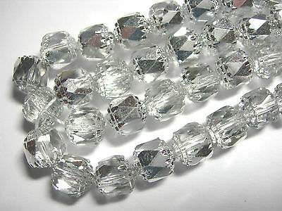 25 Half Silver Crystal Cathedral Czech Glass 8mm beads