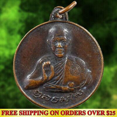 LP Fan Powerful Budha Amulet Life Protect Lucky First Version Brass Phra Kring