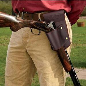 Hunting-Gun-Holsters-Shotgun-Rifle-Carrier-on-Belt-Leather-Clay-Shooting-Brown