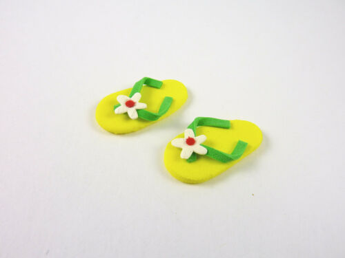Dollhouse Miniature Yelllow Foam Flip Flops A3162
