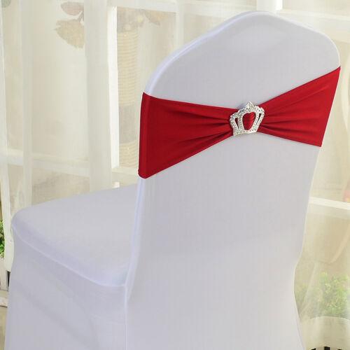 Spandex Stretch Wedding Chair Sashes Crown 10//25//50//100pcs Party Banquet Decor