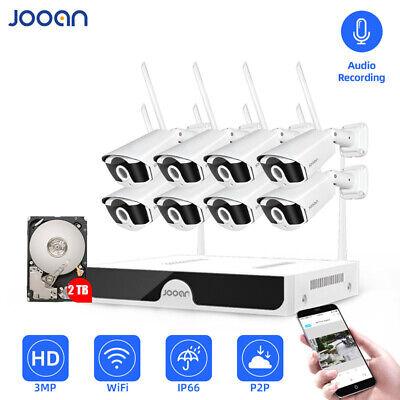 JOOAN 8CH 3MP HD Kabellose Wlan Überwachungskamera Außen IP Kamera NVR System