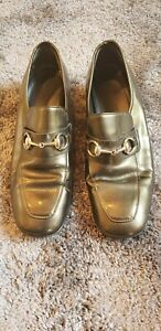 ENZO ANGIOLINI RETRO 1980'S LEATHER BRAZIL WOMEN TAUPE LOAFER HEEL PATENT SHOE