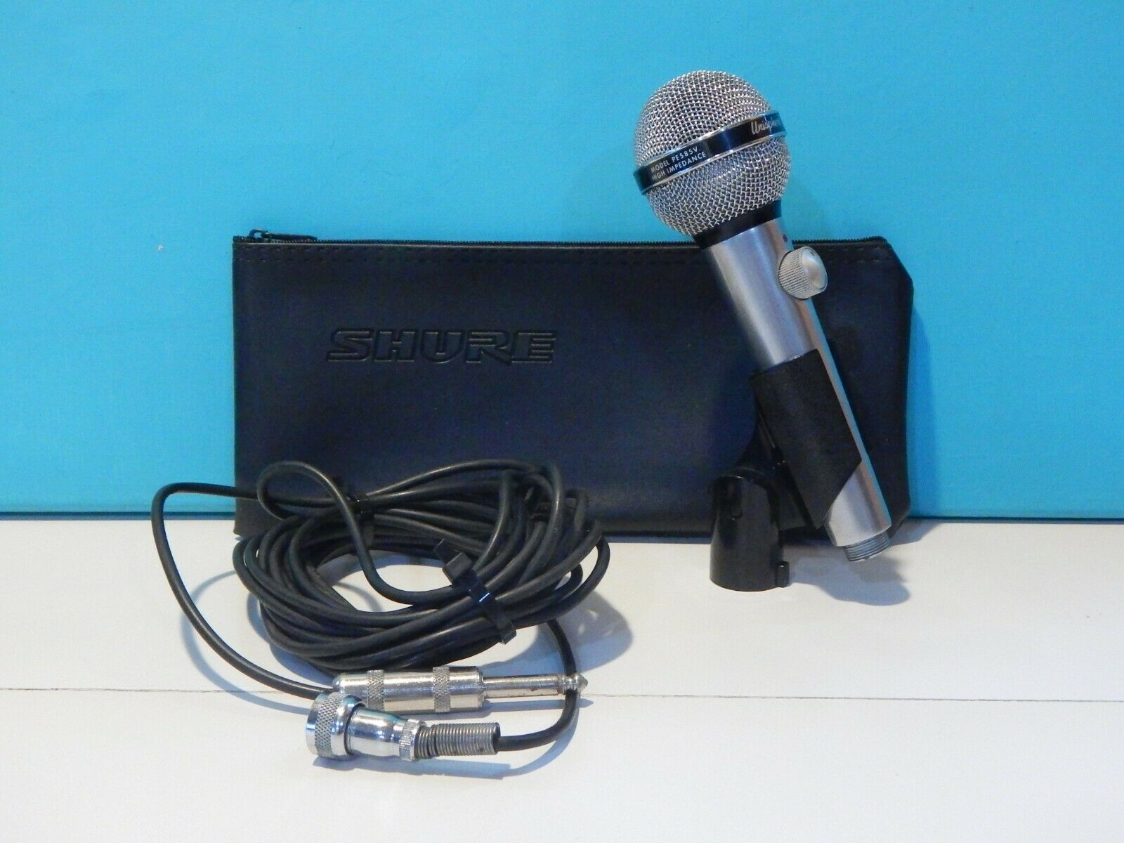 Vintage Shure PE 585V Dynamic High Impedance Microphone And Accessories Harp USA