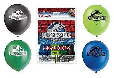 JURASSIC WORLD - 8 Latex BALLOONS - Birthday Party Decorations (Dinosaurs/Park)