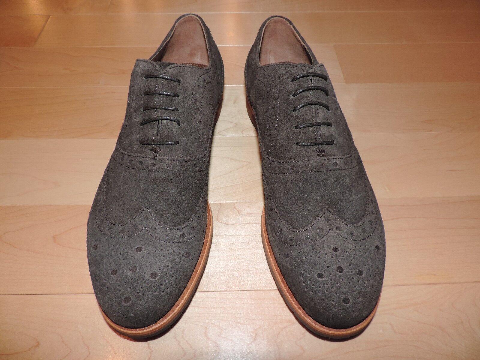 Hugo Boss CAURO-X Dark Brown Suede Suede Suede Pelle Dress Perforated Wingtip Shoes 6 7 8 162bf9