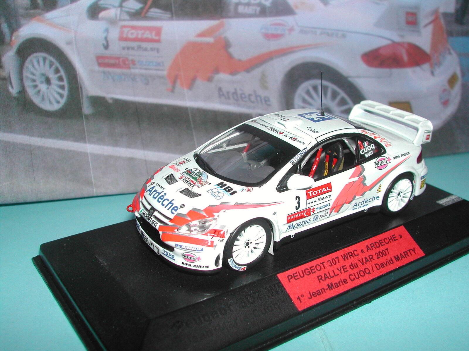 PEUGEOT 307 WRC CUOQ ARDECHE 1° VAR 2007 PRO HANDBUILT IXO  PROVENCE MINIATURE