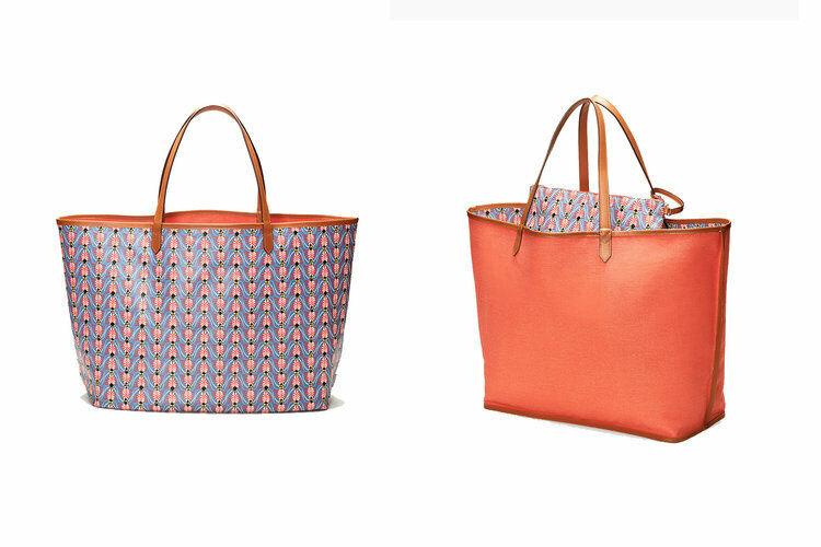 Stella & Dot Orange Tote Bag & Pouch Voyage Reversible XL Pattern Coralbee