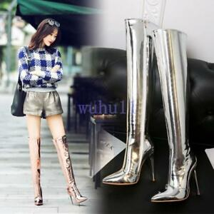 Women-039-s-Chic-Stiletto-High-Heel-Over-The-Knee-High-Boots-Pointy-Toe-Nightclub