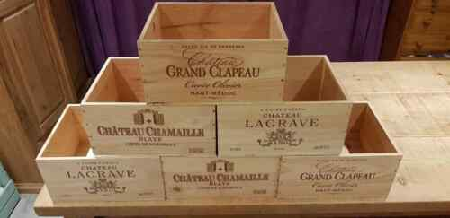 3 Pack CHRISTMAS HAMPER CRATES FRENCH CRESTED WOODEN WINE CRATE BOX