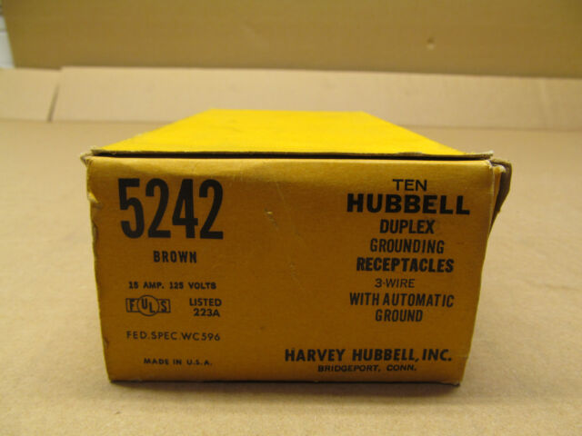 Hubbell 5242 HBL5242 Specification Grade Duplex Receptacle 15A 125V Brown 3 Wire