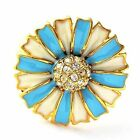Gold Plated womens vintage ring size 6 7 8 9 huge flower crystal rings