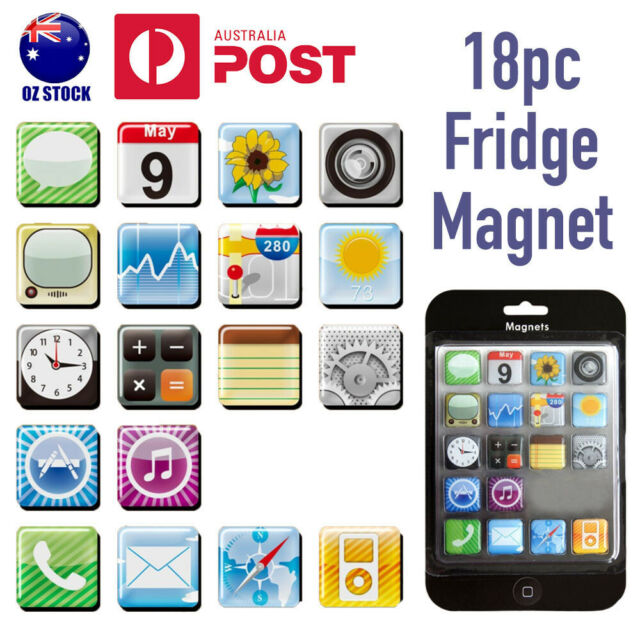 18pcs Apple iPhone iPad App Logo Icons Fridge Magnets Whiteboard Magnet Fun Gift