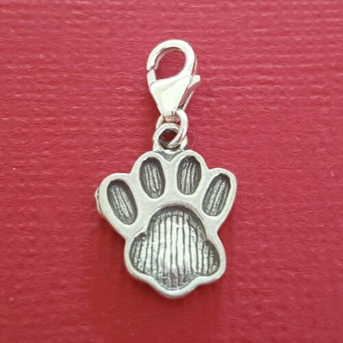 Sterling Silver Paw Print Clip On Charm solid 925 clipon jewellery