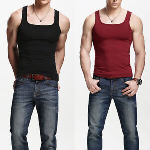 5c374148b4b2f5 Quality Men s Solid Cotton A-Shirt Wife Beater Ribbed Tank Top ...