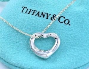 aaae059a1 Tiffany & Co Elsa Peretti Sterling Silver Small Open Heart Necklace ...