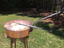 "Antique 14.5"" J&E.Gaillard Paris 4mm Hammered Copper/Tin  Saute Pan +Lid 27+ Lbs"