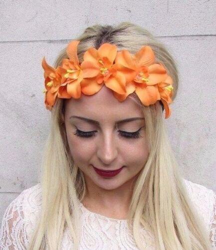 Orange Orchidée Fleur Garland Bandeau Cheveux Couronne Boho Festival Tropical 3755